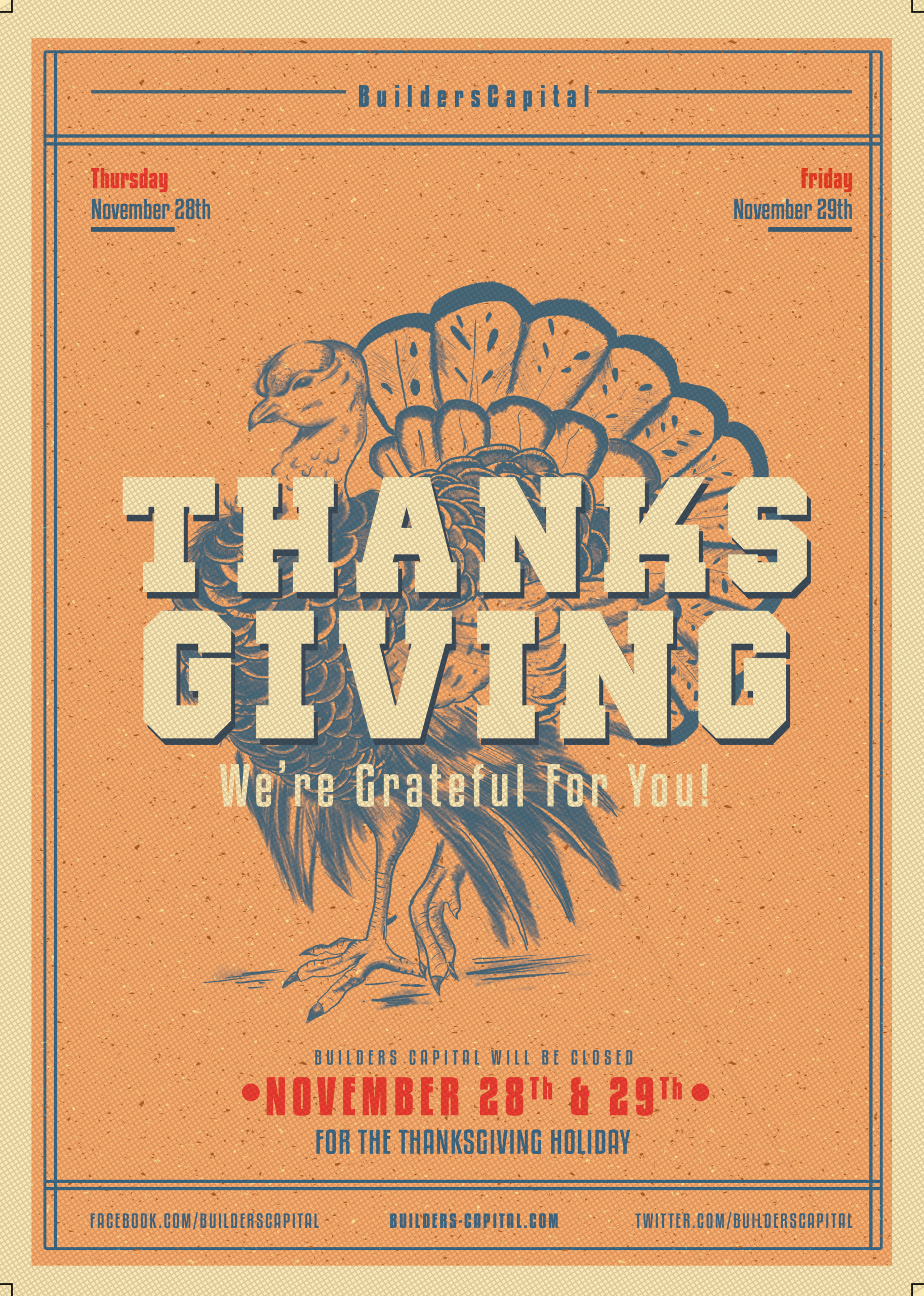 Builder's Capital will be Closed for the Thanksgiving Holiday